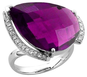 Teardrop Amethyst Diamond Gold Ring