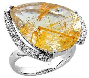 Teardrop Rutilated Quartz Diamond Gold Ring