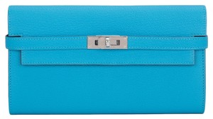 Hermès Hermes Blue Aztec Chevre Leather Kelly Longue Wallet