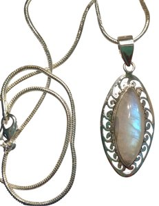 Blue Fire Moonstone Gemstone Pendant Necklace in Sterling Silver Design