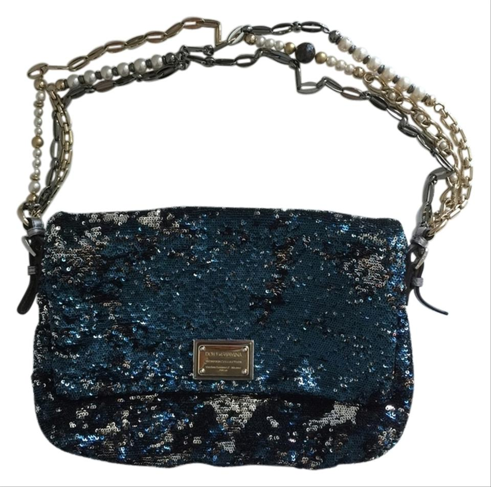 a3cedca72e Dolce Gabbana Miss Charles Blue and Silver Sequence Shoulder Bag ...