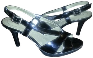 Anne Klein Patent Leather Slingback Black Sandals
