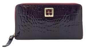 Kate Spade Kate Spade Burgundy Crocodile Embossed Patent Leather Zip Around Wallet