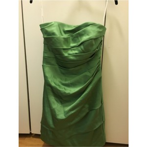 David's Bridal Green Satin Modern Bridesmaid/Mob Dress Size 2 (XS)