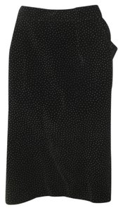 Versace Polka Dot Pencil Suede Italian Skirt Black