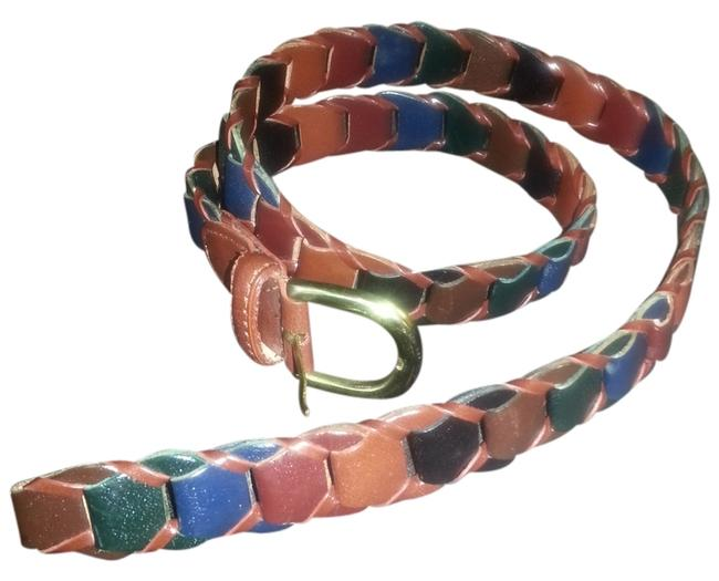 Custom Made Multi-colored Leather Woven Belt Custom Made Multi-colored Leather Woven Belt Image 1