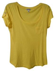 Express Scoop Neck Tab Sleeve T Shirt Yellow