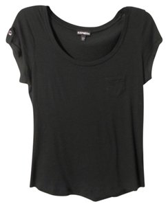 Express Scoop Neck Tab Sleeve T Shirt Black