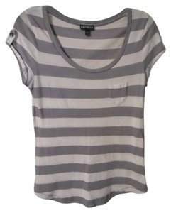 Express Scoop Neck Tab Sleeve Striped T Shirt Grey
