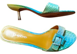 bebe Heels Size 8 Green Teal Sandals P1918 teal, green Pumps