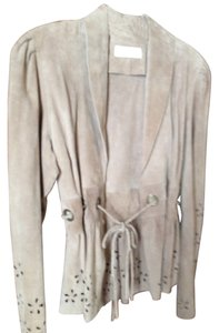 Glen Arthur for Chester Flower Cut Outs Tan Suede Leather Jacket