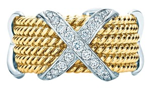 Tiffany & Co. TIFFANY & CO. SCHLUMBERGER 18 KARAT GOLD & PLATINUM WITH DIAMONDS SIX-ROW RING SIZE 6.5