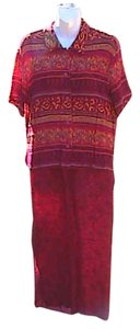 Print Red Maxi Dress by Kathie Lee Collection Pc