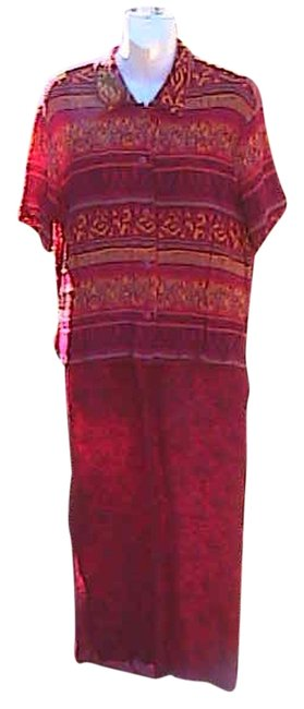 Item - Print Red 2 Pc Long Casual Maxi Dress Size 10 (M)