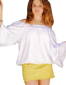 Lirome Boho Embroidered Top White