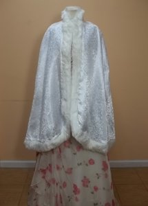 White Satin/Fur S002 Formal Wedding Dress Size OS (one size)