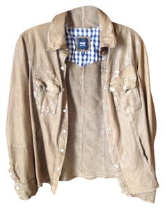 Gap Plaid Inside Tan Leather Jacket