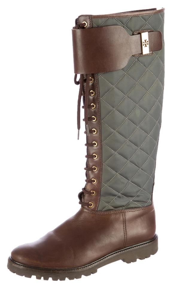 39b9558e038 Tory Burch Brown Green Leather Quilted Winter Tall Knee High Boots Booties