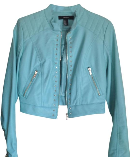 Item - Turquoise Studded Vegan Faux Leather Jacket Size 4 (S)