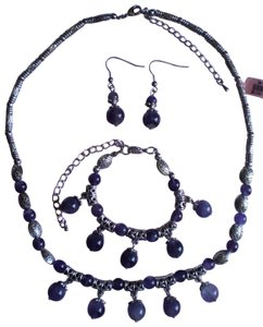 Other Amethyst Necklace, Earrings and Bracelet in Silvertone and Stainless Steel