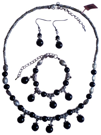 Other Black Agate Necklace, Earrings and Bracelet