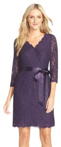 Adrianna Papell Faux Wrap Lace Sheath Dress