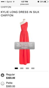 J.Crew Strawberry Kylie Long Dress In Silk Chiffon - 04988 Dress