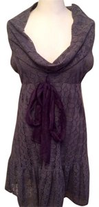 Free People short dress Gray lace w purple chiffon bow on Tradesy