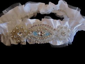 Other Satin Wedding Garter Bridal Garter Keepsake Garter Rhinestone Beaded Garter Toss Garter Something Blue Crystal Applique