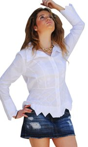 Lirome Embroidered Couture Cottage Chic Ibicenco Resort Button Down Shirt White