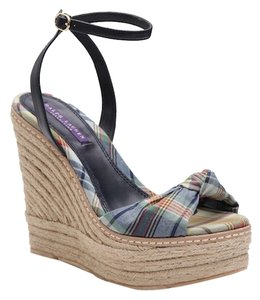 Ralph Lauren Espadrilles Leather Rl Collection Madras Wedges