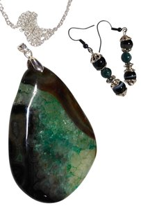 New Agate Gemstone Pendant Necklace Earrings Set Green Black Silver J1654