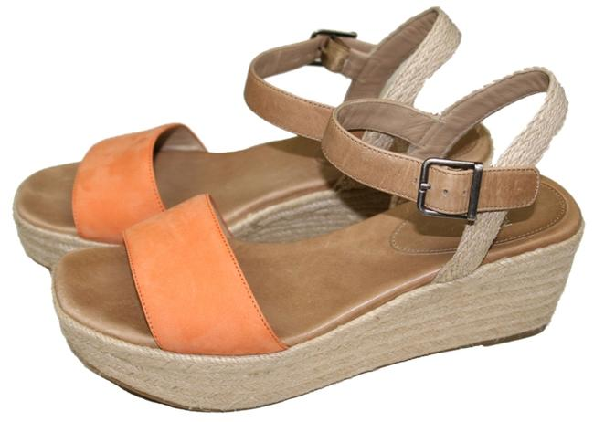Item - Orange/Natural Clasp Platform Sandals Size US 9