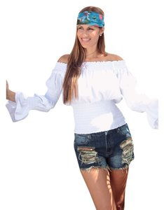 Lirome Boho Summer Casua Chic Top White