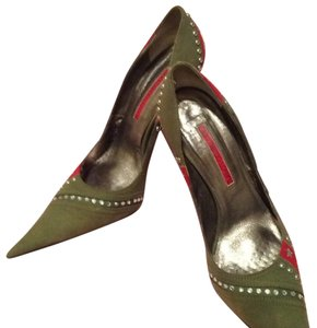 Gianmarco Lorenzi Army green and red with studs Pumps