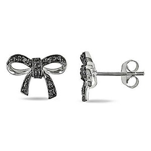 Amour Amour Sterling Silver Black Diamond Accent Bow Stud Earrings