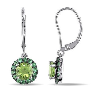 Amour Amour 14k White Gold Peridot And Tsavorite Drop Dangle Leverback Earrings