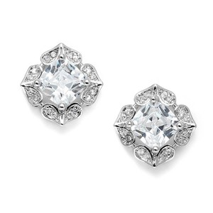 Cushion Cut Crystal Statement Stud Bridal Earrings