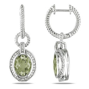 Amour Sterling Silver Green Amethyst And 110 Ct Tdw Diamond Earrings G-h I3