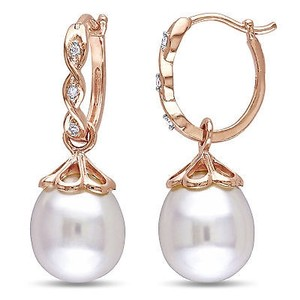 Amour 10k Rose Pink Gold Freshwater Pearl And Diamond Accent Dangle Earrings 9-9.5 Mm