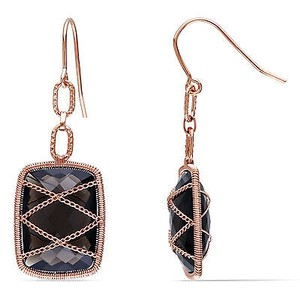 Amour Amour 14k Pink Gold Over Silver Ct Tgw Smokey Quartz Drop Earrings