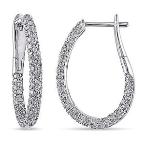 Amour Amour 14k White Gold 1 Ct Tdw Diamond Hoop Earrings G-h I2-i3