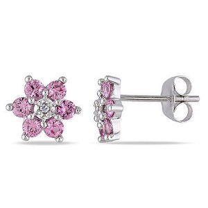 Amour Amour 10k White Gold Pink Sapphire And Diamond Flower Stud Earrings