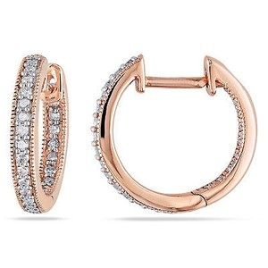 Amour Amour 14k Pink Rose Gold 14 Ct Tdw Diamond Hoop Earrings G-h I1-i2