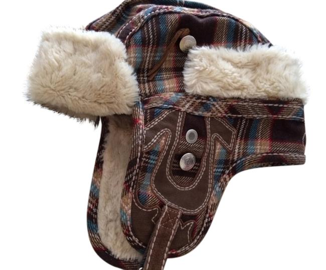 Item - Brown Plaid Faux Fur Lined with Ear Flaps Hat