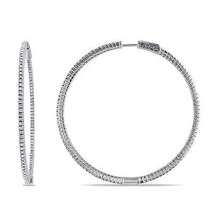 Amour Amour Sterling Silver 1 Ct Tdw Diamond Hoop Earrings H-i I2-i3