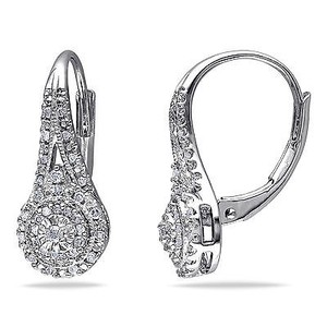 Amour Sterling Silver 14 Ct Tdw Diamond Halo Drop Dangle Leverback Earrings H-i I2-i3