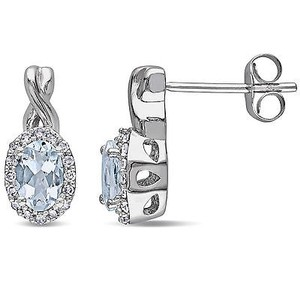 Amour Amour 10k White Gold Aquamarine And 16 Ct Tdw Diamond Earrings G-h I1-i2