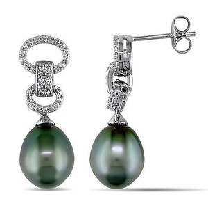 Amour Amour Sterling Silver Tahitian Pearl And Diamond Earrings 9-9.5 Mm