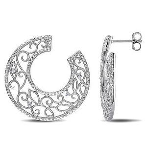 Amour Amour Sterling Silver Diamond Accent Hoop Earrings